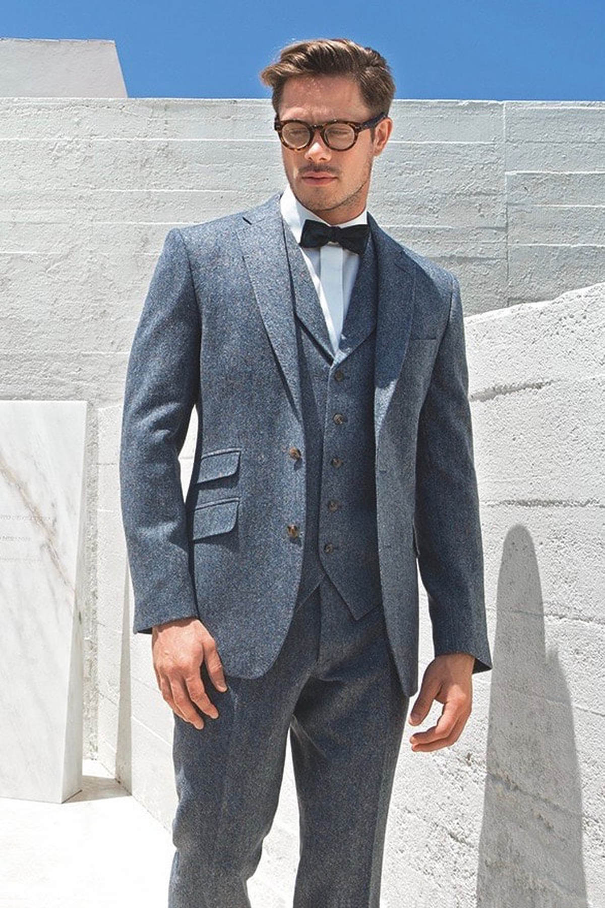 Blue Tweed Suit Hire - PARKERS FORMAL WEAR